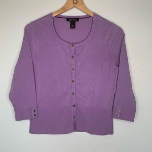 WHBM cardigan 3/5 sleeve snaps lilac color